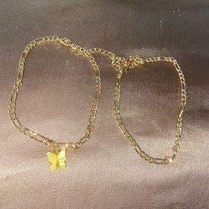 Yellow butterfly anklet set